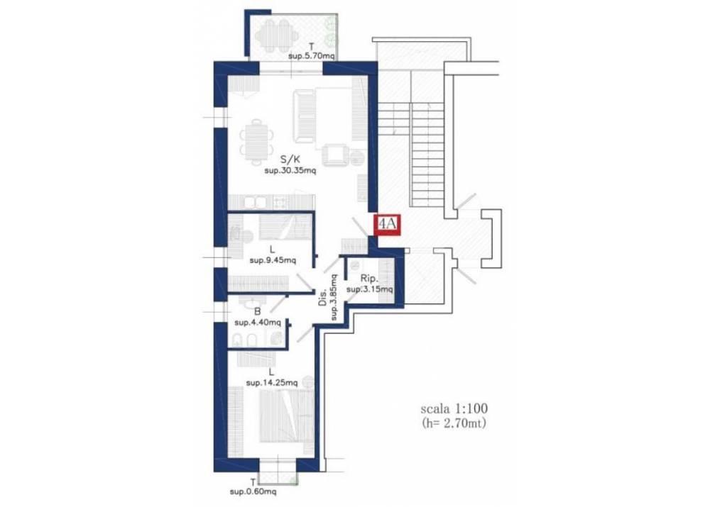 Vendita Appartamento a Parma Via Calestani Q.re Molinetto di 88 mq